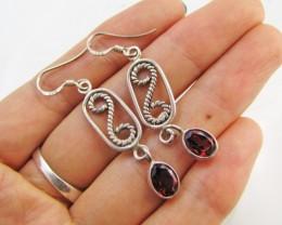 Garnet set in Silver Earrings  MJA 988