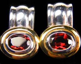 GARNET GEMSTONE  STYLISH  SILVER EARRINGS    GRR 175