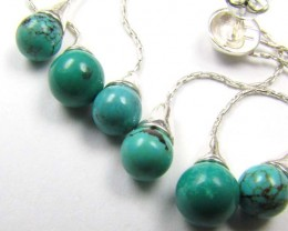 SWING CLUSTER TURQUOISE SILVER EARRINGS  AAT 1397