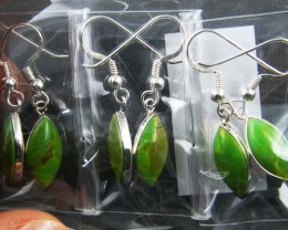 TRADE DEAL 3  GREEN TURQUOISE    SILVER EARRINGS  MYT 224