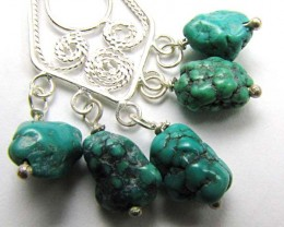BEAUTIFUL CLUSTER  TURQUOISE SILVER EARRINGS  AAT 1400