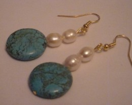 TURQUOISE AND FRESHWATER PEARL DANGLE EARRINGS