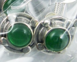 TRADE DEAL 3 GREEN AGATE  SILVER EARRINGS  MYT 304