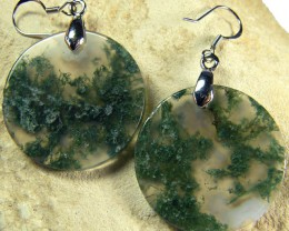 MOSS  AGATE EARRINGS 37.35 CTS [SJ472]