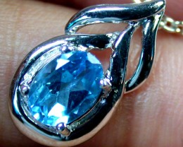 BEAUTIFUL BLUE TOPAZ  PENDANT 14K WHITE GOLD 0.5CTS MY 606E