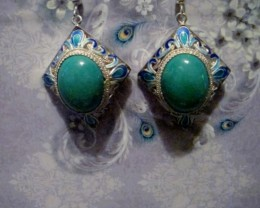 NEW EARRINGS WITH GENUINE TURQUOISE  AND 925 STERLING SILVER