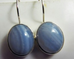 CRAZY LACE AGATE  SHEPPARD HOOK SILVER EARRINGS  MGMG 406