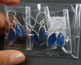 TRADE DEAL 3  BLUE AGATE SHEPPARD   SILVER EARRINGS  MYT 221