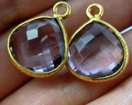 AMETHYSTlLARGE 15X15MM  EARRINGS  RT 966