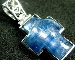 KYANITE CROSS PENDANT -SILVER  13.8 CTS [GT490 ]