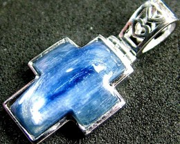 KYANITE CROSS PENDANT -SILVER  13.5 CTS [GT494 ]