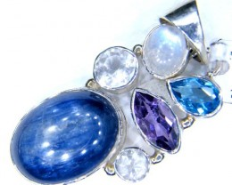KYNITE -AMETHYST-TOPAZ MOONSTONE PENDANT 62.80 CTS LJ-39