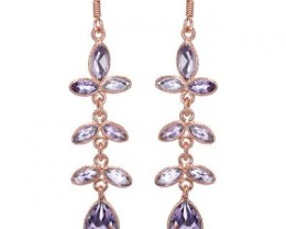 NEW - 6.83TCW  GENUINE AMETHYST FISH HOOK EARRINGS
