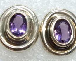 AMETHYST SILVER EARRINGS 20  CTS ADJ-21