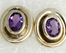 AMETHYST SILVER EARRINGS 20  CTS ADJ-24