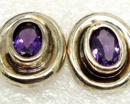 AMETHYST SILVER EARRINGS 20  CTS ADJ-25