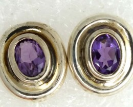 AMETHYST SILVER EARRINGS 20  CTS ADJ-26