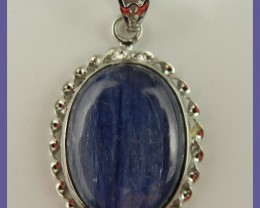 """SUPER PATTERNED STERLING SILVER KYANITE PENDANT"""