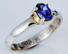 8.5 RING SIZE TANZANITE  SILVER RING CLUSTER [SJ2773]