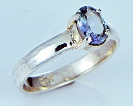 6.5 RING SIZE TANZANITE  SILVER RING CLUSTER [SJ2784]