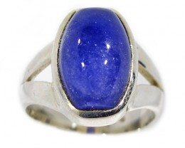 7.5 RING SIZE TANZANITE  SILVER RING -CABACHONE [SJ2932]