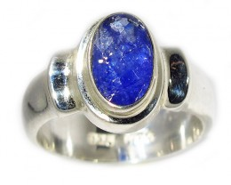 7 RING SIZE TANZANITE  SILVER RING -FACETED [SJ2937]