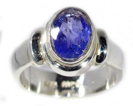 8 RING SIZE TANZANITE  SILVER RING -FACETED [SJ2939]