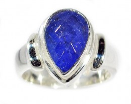 6.5 RING SIZE TANZANITE  SILVER RING -FACETED [SJ2945]