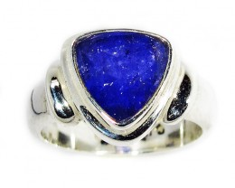 8 RING SIZE TANZANITE  SILVER RING -FACETED [SJ2947]SH