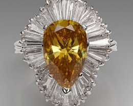 GIA CERTIFIED 4.57CTS  YELLOW DIAMOND RING