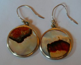 VERY NICE STERLING SILVER AND SHELL EARRINGS