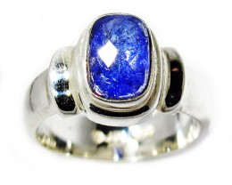 7 RING SIZE TANZANITE SILVER RING -FACETED [SJ2948]SH
