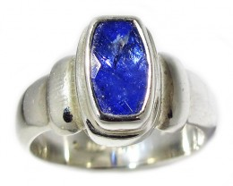 7.5 RING SIZE TANZANITE SILVER RING -FACETED [SJ2949]SH