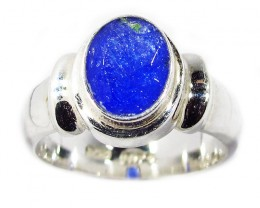 7.5 RING SIZE TANZANITE  SILVER RING -FACETED [SJ2951]SH