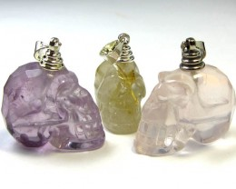 80 CTS THREE RUTILATED QUARTZ SKULL PENDNATS MGMG295