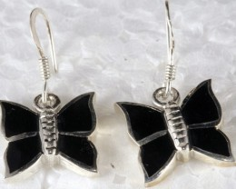 Sterling Silver Earring With Black Onyx Butterfly SE-22