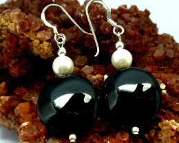 BLACK ONYX EARRINGS   RT 1200