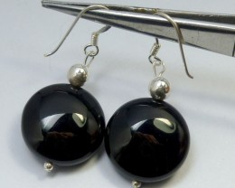 BLACK ONYX EARRINGS  RT 1204