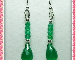 Quality Green Onyx in .925 Silver Earrings JW33