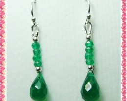 Quality Green Onyx in .925 Silver Earrings JW34
