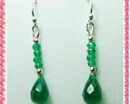 Quality Green Onyx in .925 Silver Earrings JW34
