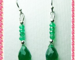 Quality Green Onyx in .925 Silver Earrings JW35