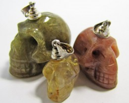 150 CTS 3 JASPER  RUTILATED QUARTZ SKULL PENDANTS MJA846