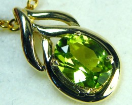 PERIDOT GEMSTONE 14K YELLOW GOLD PENDANT 1.5CTS  MY233E