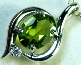 PERIDOT GEMSTONE 14K WHITE GOLD PENDANT 2.9 CTS MY234