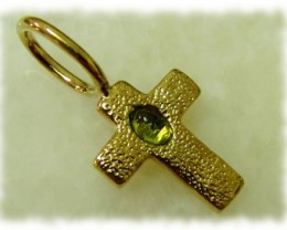 5.68g Brass Cross Pendant With PERIDOT