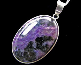 56 cts Large Charoite SilverPendant   MJA 746