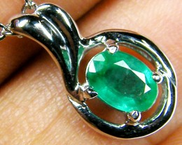 FREE SHIPPING NATURAL EMERALD 14K WHITE GOLD PENDANT  MYT 805
