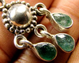 MOZAMBIQUE  LARGE EMERALD SILVER PENDANT RT 189