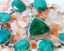 40 TCW MOZAMBIQUE  LARGE EMERALD SILVER PENDANT GG789